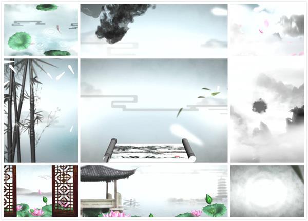 典雅唯美水墨画风竹子荷塘月色山水合集视频素材
