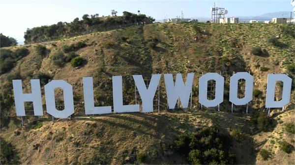 好萊塢LOGO上空拍攝實拍航拍高清視頻素材