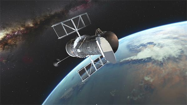 浩瀚宇宙人造卫星探测监视轨道航行视频素材