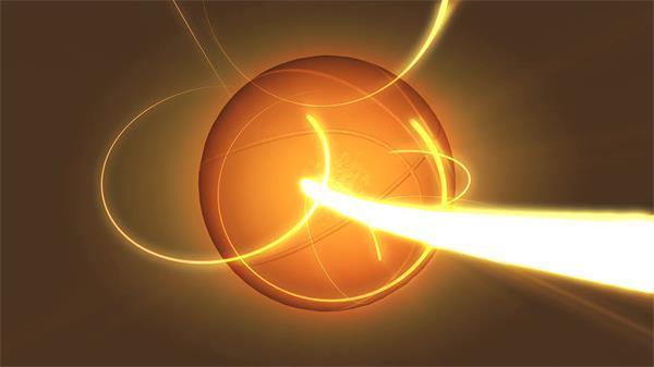金色光束盘绕篮球旋转动感配景视频素材