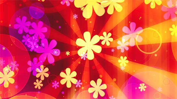 缤纷颜色射线配景花朵旋转粒子飞翔视频素材