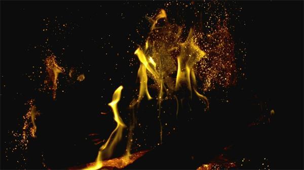 火焰慢動作燃燒火花粒子飄散實拍慢鏡高清視頻素材