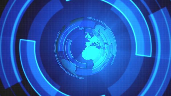 蓝色地球运动图形旋转电视栏目视频素材