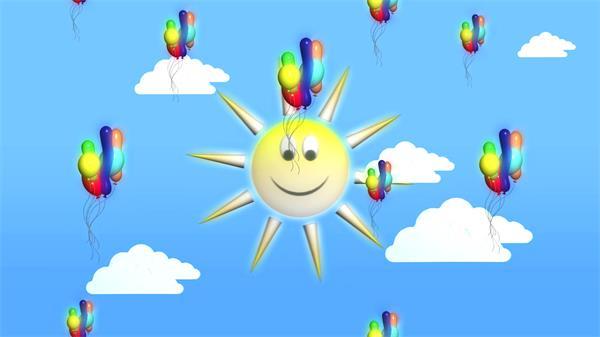 兒童歡樂可愛動畫藍天白云繽紛氣球上升視頻素材