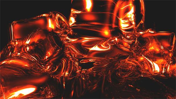 抽象创意红色液体流淌塑造外形视频素材