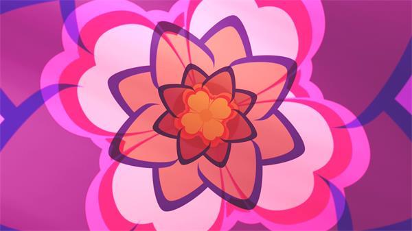 复古风格迷乱层叠花朵旋转背景视频素材