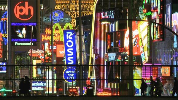 燈紅酒綠霓虹燈閃爍實拍高清視頻素材