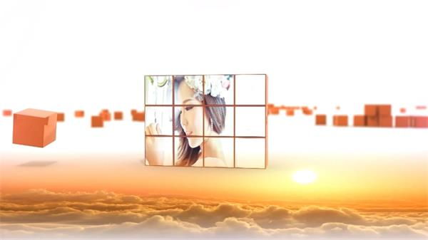 会声会影X7模板 次元空间正方体颗粒拼接照片墙电子相册幻灯片
