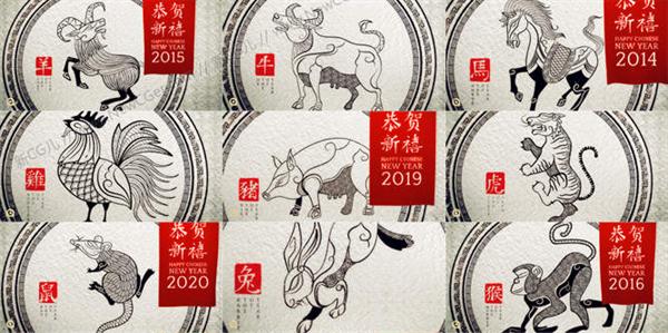 AE模板 典雅中国风羊毫绘画十二生肖提醒模版 AE素材