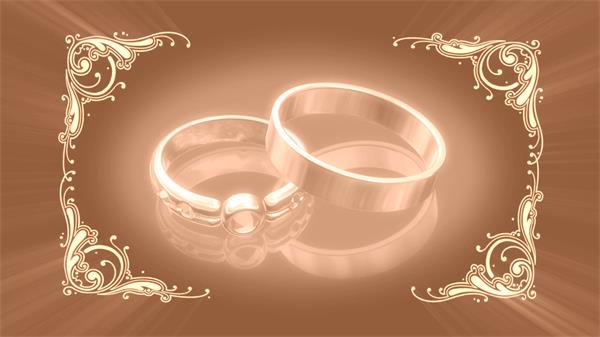 甜蜜婚礼花纹狂戒指旋转浪漫温馨视频素材