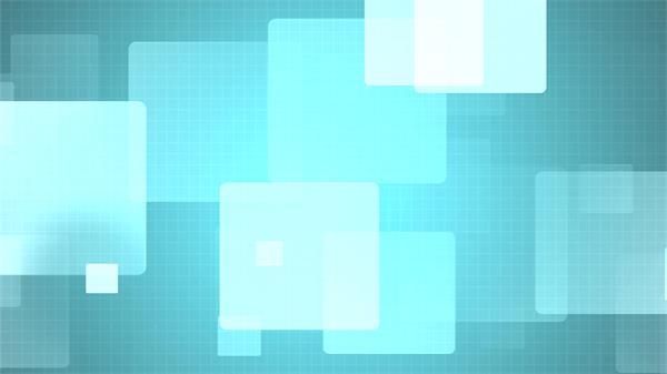 清新干净蓝色扁平方块若隐若现幻灯片背景视频素材