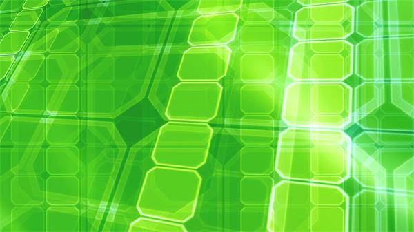 大气绿色智能方块层叠挪动幻化视频素材