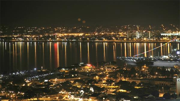 都市夜景港口邮轮车辆穿梭加速延时实拍高清视频素材