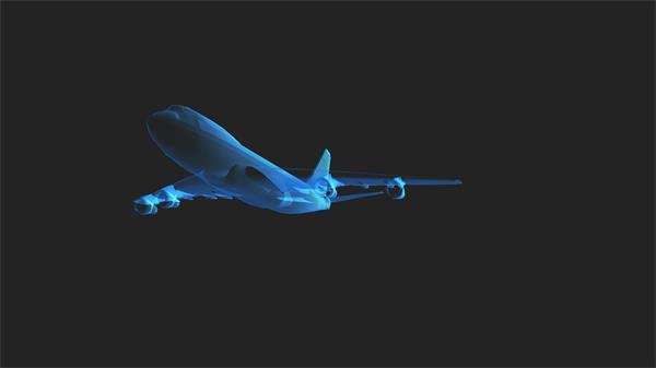 强大3D技术建模构建透视飞机滑翔飞过视频素材