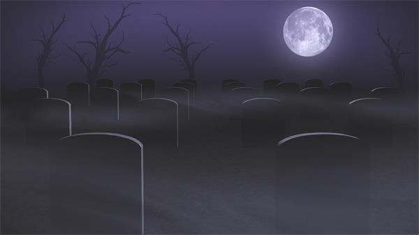 阴森恐怖月亮下墓地万圣节令人惊讶背景视频素材