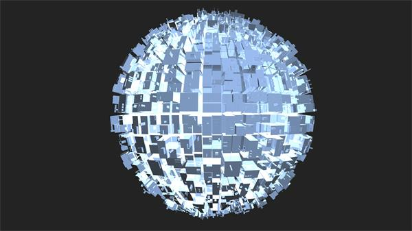 创意抽象不规则圆球模型旋转科技透明建筑视频素材