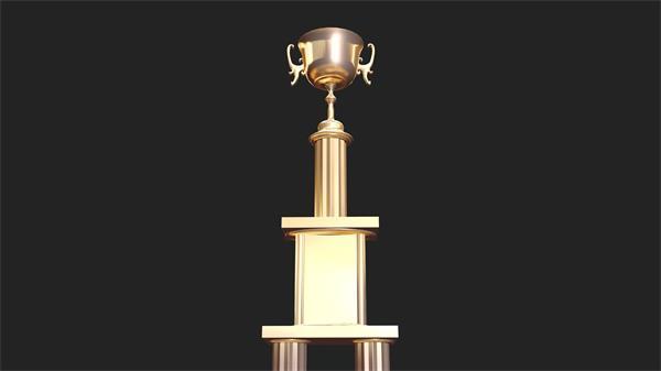 华美高端庆典晚会颁奖仪式金色奖杯旋转展现视频素材