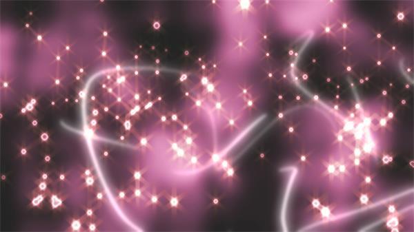 梦幻紫背景闪耀光效粒子飘浮烟雾线条飞舞视频素材
