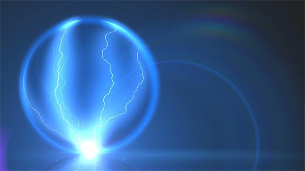 蓝色魔幻电光魔球电流离子触屏球壁视频素材