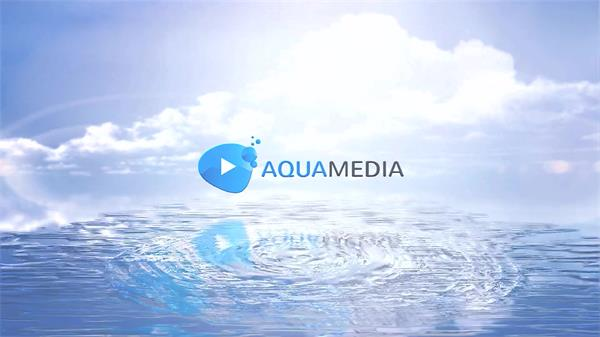 AE模板 简洁清纯荡漾水波纹淡出企业LOGO标志宣传模版 AE素材