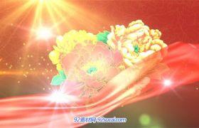 AE模板 高清红绸巾飘扬粒子中国梦五四青年节主题晚会模版 AE素材