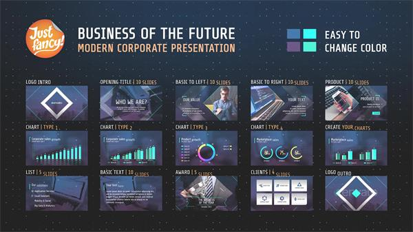 AE模板 将来大气商务多少滑入切换企业演讲幻灯片模版 AE素材