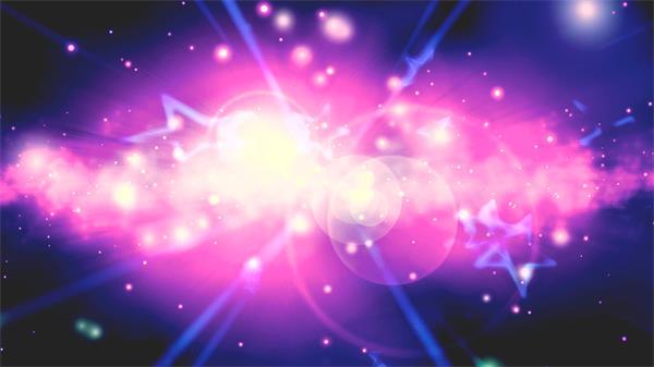 缤纷炫丽宇宙星空扎眼光晕星星粒子飘浮配景视频素材