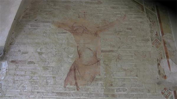 古代砖墙彩绘壁画实拍高清视频素材