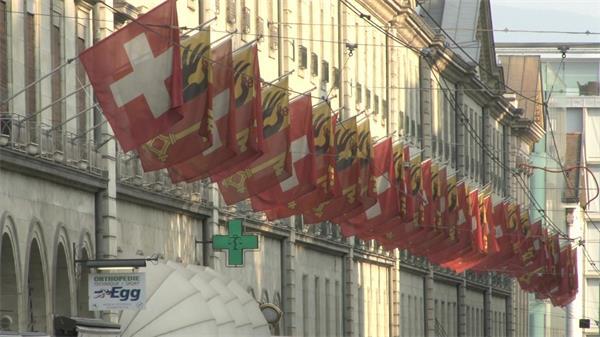 瑞士大楼国旗整齐排列展示实拍高清视频素材