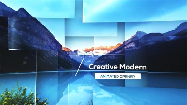 AE模板 震撼跟踪字体图片方块分割效果模版 AE素材