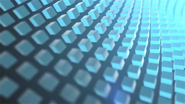 蓝色互联网科技感立方体动摇歪曲划一排版结构配景视频素材