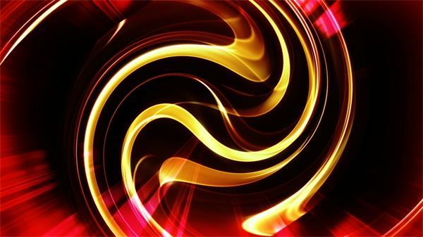红色隧道流动金光线状条纹动态LED背景视频素材