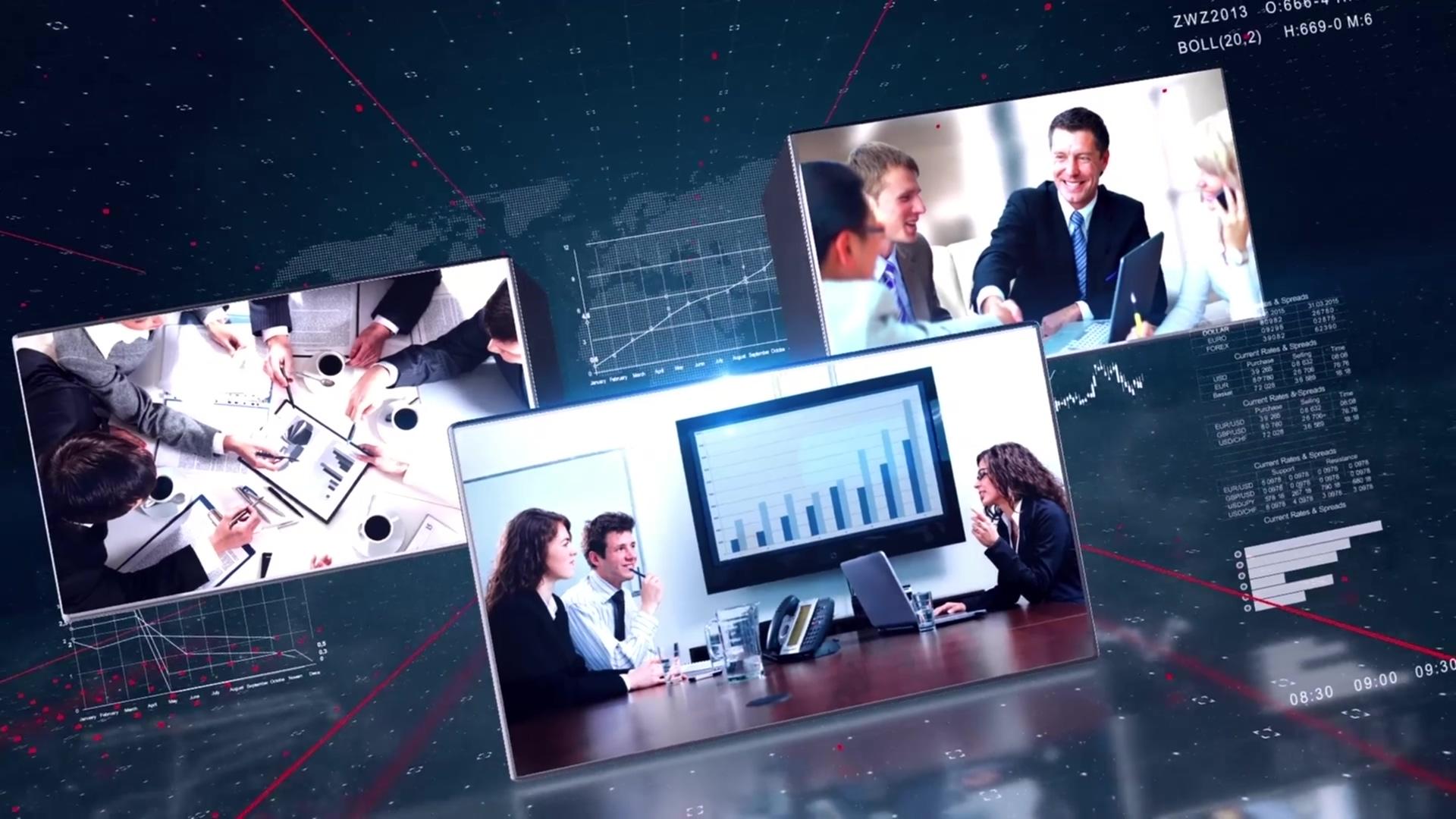 AE模板 三维空间旋转拼接数据分析照片视频展示模版 AE素材