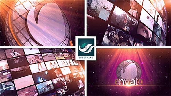 AE模板 震撼大气三维空间分屏视频墙组合LOGO标志展示模版 AE素材