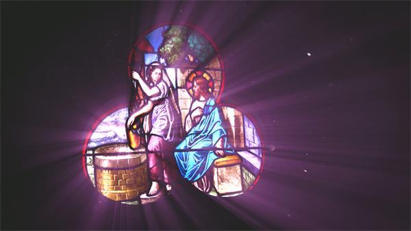 典雅复古颜色玻璃绘画光影射线梦境情形视频素材