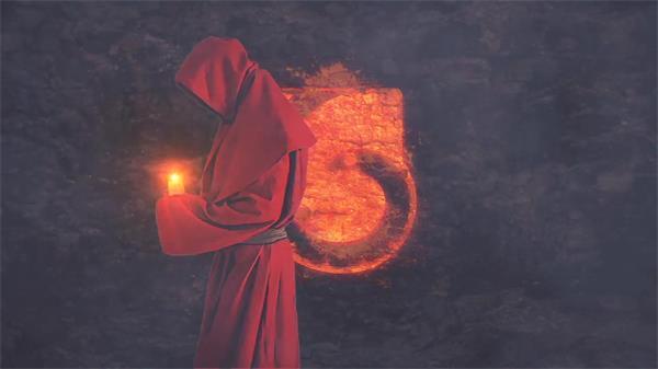 AE模板 具有神秘感人物拿蜡烛行走淡出LOGO标志模版 AE素材