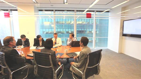 商务企业办公?#21307;?#34892;会议商讨研究方案公司会议高清视频拍摄