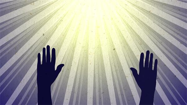 双手高举拥抱希望之光动态LED背景视频素材