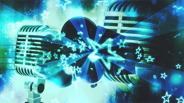 复古摇滚音乐动感星星飘浮四射激光射线麦克风视频素材