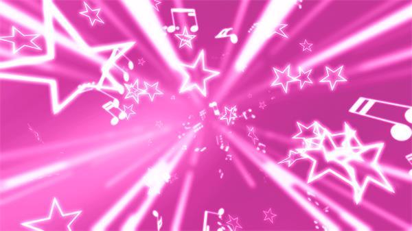 唯美浪漫粉红色背景星星飘浮音乐音符冲击视频素材