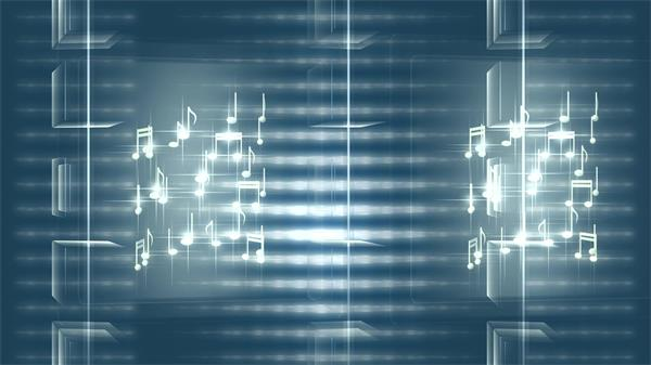 两个立方体音乐音符旋转科技魔方背景动态视频素材