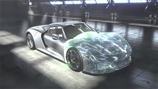 虚幻构建研发汽车技术高级豪华跑车透视零件引擎高清视频拍摄