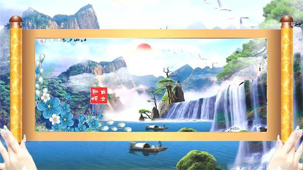 会声会影X6模板 奢华大气中国风水墨画卷摊开典雅山水画演示模版