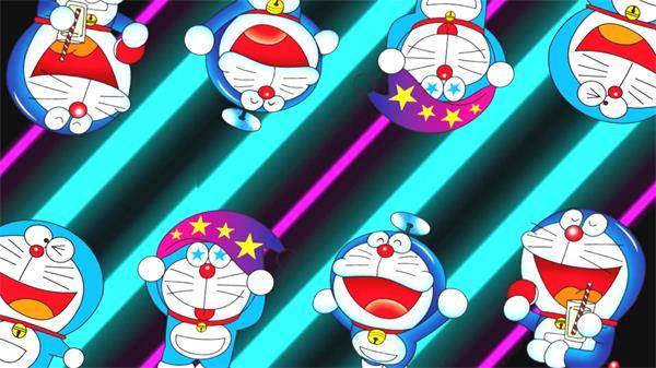 缤纷儿童乐趣机器猫多啦A梦表情跳动背景变幻动态视频素材
