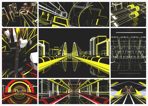 超强科技动感3D城市线性实用舞台LED大屏幕背景视频素材
