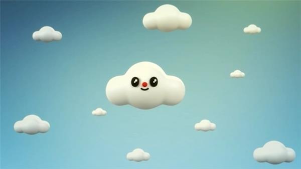 儿童节动画天上小云生长过程动态LED背景视频素材