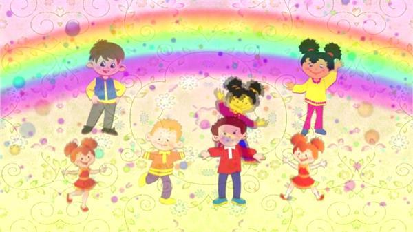 六一儿童节旋转鲜花七色彩虹动态LED背景视频素材