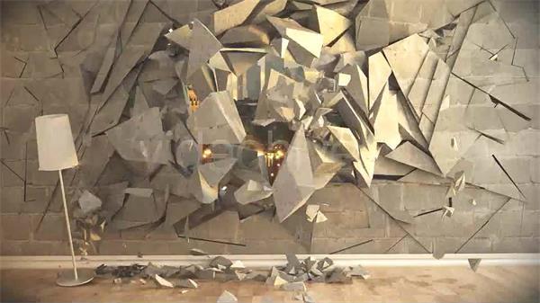 AE模板 史诗般震撼墙面碎裂爆破碎片飞出图文展示模版 AE素材
