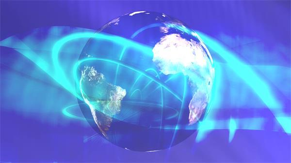 抽象商务科技互联网地球旋转光效线条LED背景视频素材
