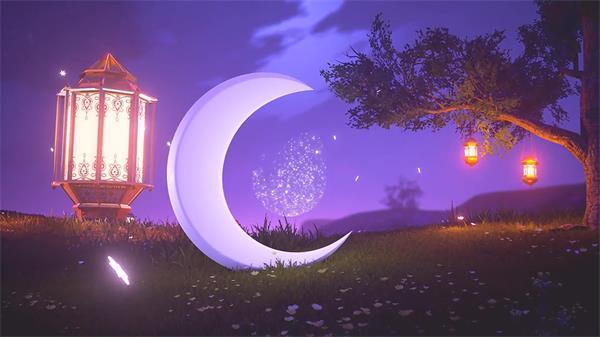AE模板 梦幻唯美夜景吊灯光效星星渲染月亮揭示LOGO模版 AE素材